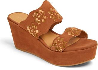 Jack Rogers Margaux Wedge Flower-Stud Sandals