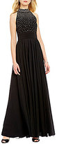 Jessica Howard Mock Neck Sleeveless Beaded Gown