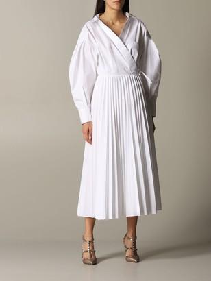 Valentino Poplin Dress With Pleated Skirt