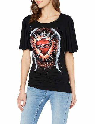 Spiral Direct Women's Sacred Wings-Boat Neck Bat Sleeve Top T - Shirt