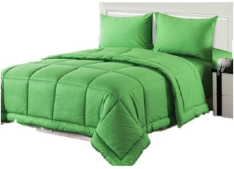 Tache Home Fashion 4-Piece 100% Cotton Solid Green Quilted Comforter Set, California King