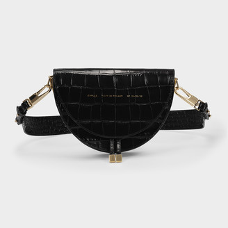 CHYLAK Saddle Bag In Black Croc Embossed Leather