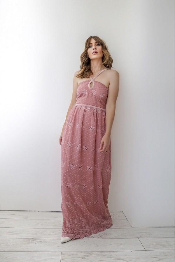 Thumbnail for your product : Little Mistress Isobel Apricot Dobby Spot Keyhole Maxi Dress