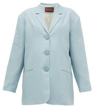 Albus Lumen - Manus Oversized Linen Blazer - Womens - Light Blue