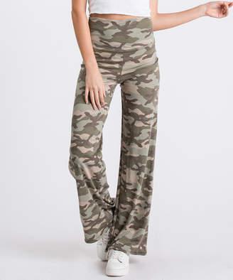 Cool Melon Women's Casual Pants Dark - Dark Green & Brown Camouflage Palazzo Pants - Women & Plus