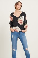 Dynamite Bell Sleeve Blouse with Lace-Up Back