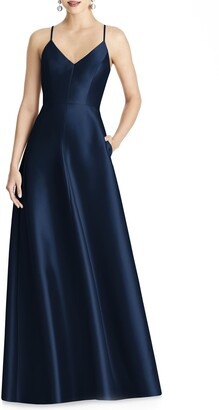 Alfred Sung Full Length Sateen Twill Dress