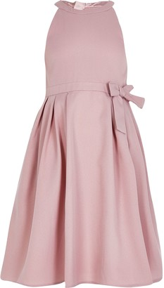 Chi Chi London River Island Girls Chi Chi Pink bow scallop back dress