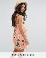 Asos Floral Print Lace Up Back 90s Skater Dress