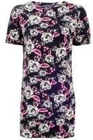 Select Fashion Fashion Womens Black Floral Crepe T-Shirt Dress - size 6