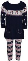Toddler Girl Blueberi Boulevard Black Fairisle Penguin Sweater & Leggings Set