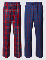M&s Collection 2 Pack Checked Pyjama Bottoms
