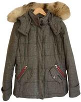 Woolrich Grey Wool Leather Jacket for Women