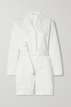 Alex Mill Expedition Belted Cotton-blend Poplin Playsuit - White