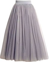 Chouyatou Women Eastic Waist Tutu Petticoat A-line Tulle Skirt
