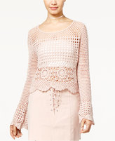 One Hart Juniors' Cotton Crocheted Bell-Sleeve Top, Only at Macy's