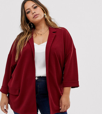 Asos DESIGN Curve easy relaxed blazer in textured jersey