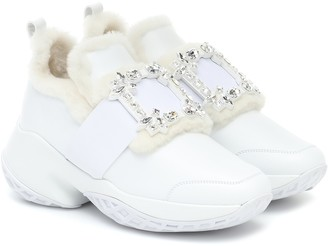 Roger Vivier Viv' Run shearling and leather sneakers