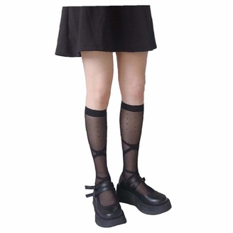 Berrywho Knee High Socks Thigh Knee High Socks Lace Silk Stockings Bow tie Leg Warmer Bandage Dot Patterned Patterned Black