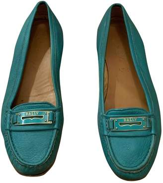 Bally Turquoise Leather Flats