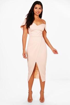 boohoo Off Shoulder Wrap Skirt Midi Dress