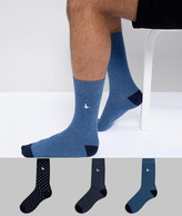 Jack Wills Alandale 3-Pack Sock in Navy Blue Mix