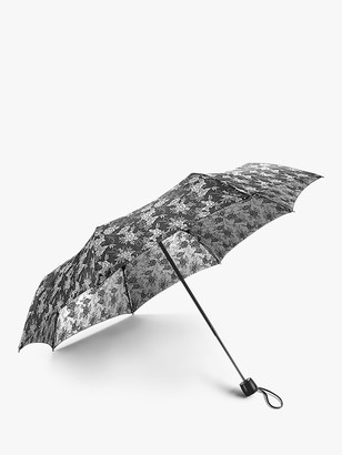 Fulton Jacquard Floral Print Telescopic Umbrella, Silver