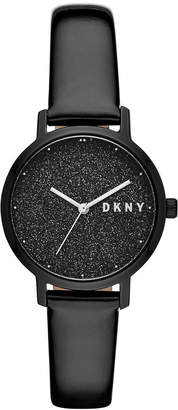 DKNY Women Modernist Black Patent Leather Strap Watch 32mm
