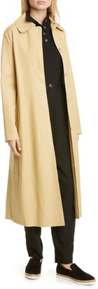 Vince Double Face Leather Trench Coat