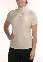 August Silk Stretch Scrunch Mock Turtleneck - Short Sleeve (For Women)
