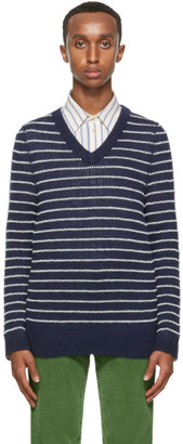 Gucci Navy and White Alpaca Sweater