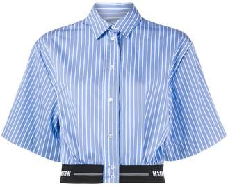 MSGM Striped Crop Short-Sleeve Shirt