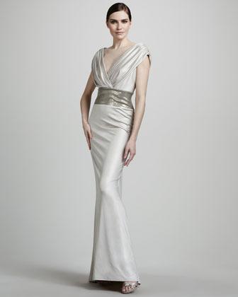 Tadashi Shoji Sequined V-Neck Gown