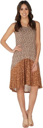LOGO by Lori Goldstein Printed Dress with Flounce Detail