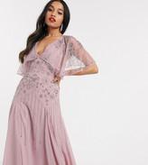 Asos DESIGN Petite floral embellished cape midi dress
