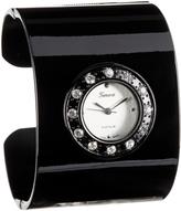 Geneva Platinum Black & Rhinestone Cuff Watch