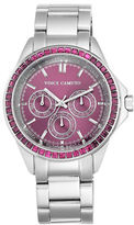Vince Camuto Purple Crystal-Accented Stainless Steel Chronograph, VC-5087PRSV