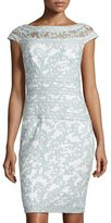 Tadashi Shoji Filigree Embroidered Lace Cocktail Dress, Mint