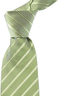 Isaia Green Stripe Silk Tie