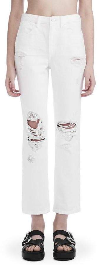 Alexander Wang Cropped Straight Leg White Destroyed