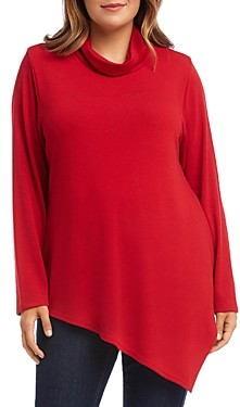 Karen Kane Plus Asymmetric Cowl-Neck Sweater