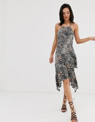 Asos Design DESIGN cami midi sundress with ruffle hem in mixed animal print-Multi