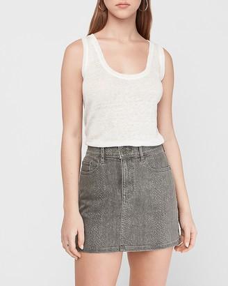 Express High Waisted Snakeskin Print Straight Denim Mini Skirt