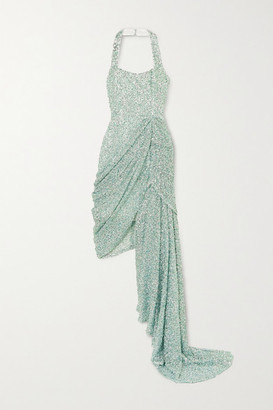 Halpern Asymmetric Draped Sequined Lace Dress - Green