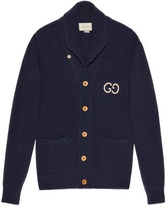 Gucci Rib knit wool cardigan with GG