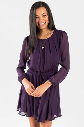 francesca's Willah Sheer Godet Dress - Purple