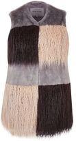 River Island Womens Plus grey faux fur patchwork gilet