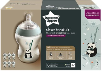 Tommee Tippee Closer to Nature 6 Piece Decorated Bottles Pip the Panda