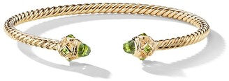 David Yurman 18kt yellow gold Renaissance peridot 3.5mm cuff