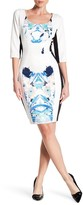 Sangria DBJUT75 Multi-Printed Scuba Sheath Dress